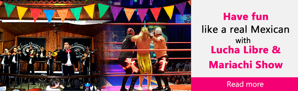 Have fun like areal mexican with lucha libre and mariachi show